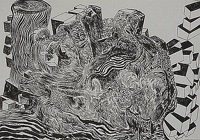 Click the image for a view of: Untitled (Landscape 01). 2008. Pen & Ink. 300 x 420mm