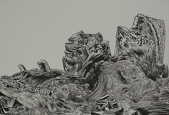 Click the image for a view of: Untitled (Landscape 02). 2008. Pen & Ink.