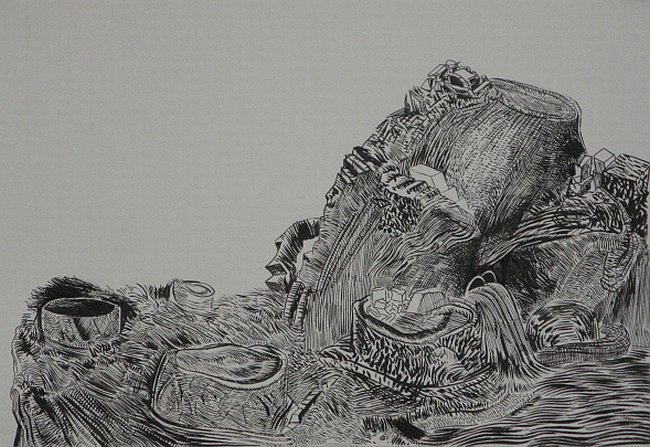 Click the image for a view of: Untitled (Landscape 03). 2008. Pen & Ink. 300 x 420mm