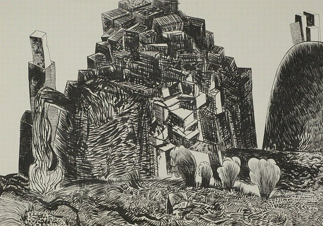Click the image for a view of: Untitled (landscape 04). 2008. Pen & Ink. 300 x