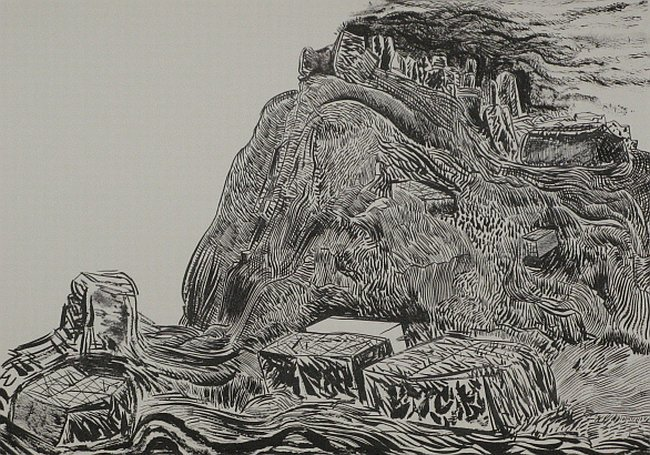 Click the image for a view of: Untitled ( Landscape 05). 2008. Pen & Ink. 300 x 420mm