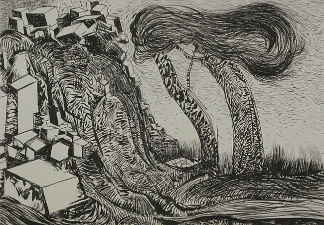 Click the image for a view of: Untitled (Landscape 07). 2008. pen & ink. 300 x 420 mm