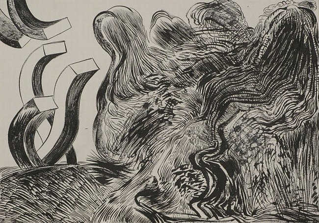 Click the image for a view of: Untitled (Landscape 08). 2008. pen & ink. 300 x 420 mm