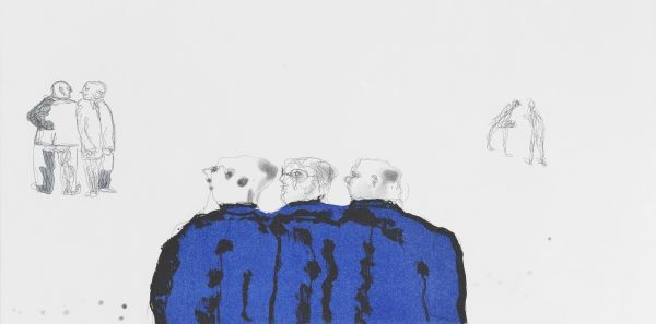 Click the image for a view of: Robert Hodgins. New boys! 2008. Etching. Edition sold out