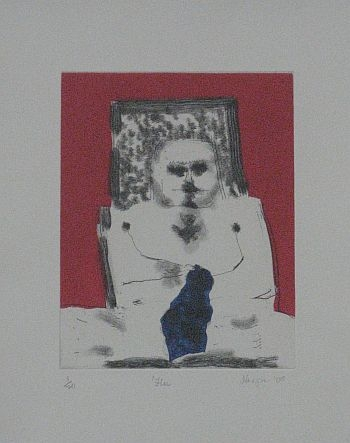 Click the image for a view of: Robert Hodgins. Flu. 2008. Etching
