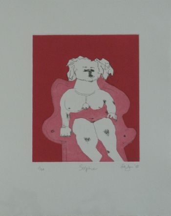 Click the image for a view of: Robert Hodgins. Sophie. 2008. Etching