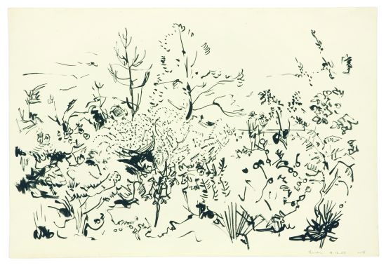 Click the image for a view of: Garden. 1955. Brush & ink. 291X430mm