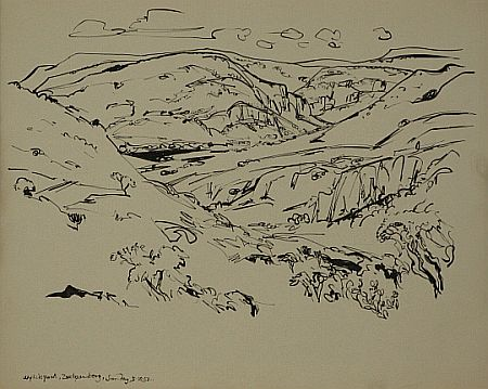 Click the image for a view of: Wylliespoort. 1952. Brush & ink. 349X434mm