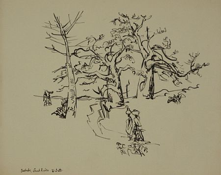 Click the image for a view of: Baobabs. 1952. Brush & ink. 345X437mm