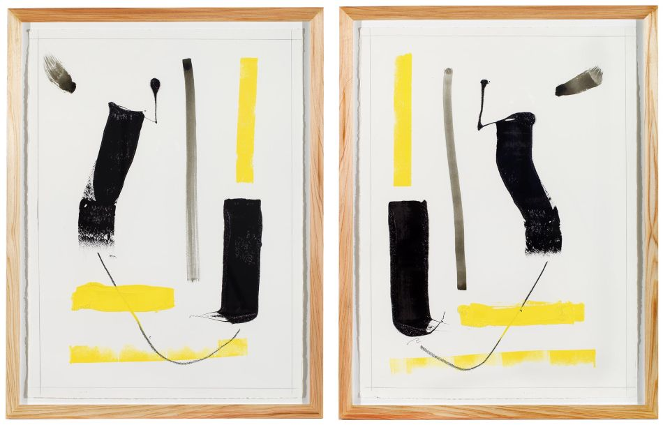 Click the image for a view of: T2 Duality (diptych). 2014. Lithographic ink, litho crayon, graphite. 760X560mm each