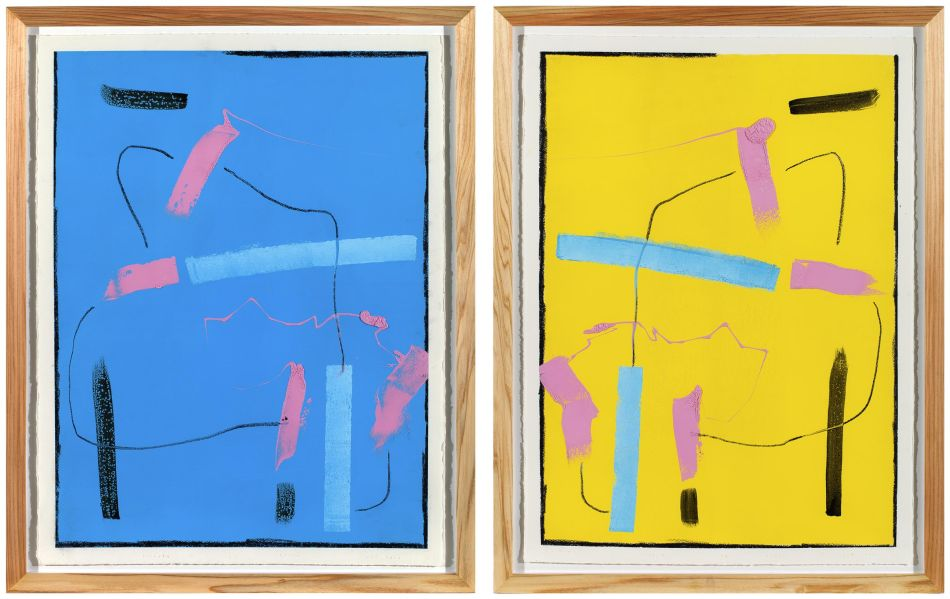 Click the image for a view of: T5 Duality (diptych). 2014. Lithographic ink, litho crayon, graphite. 760X560mm each