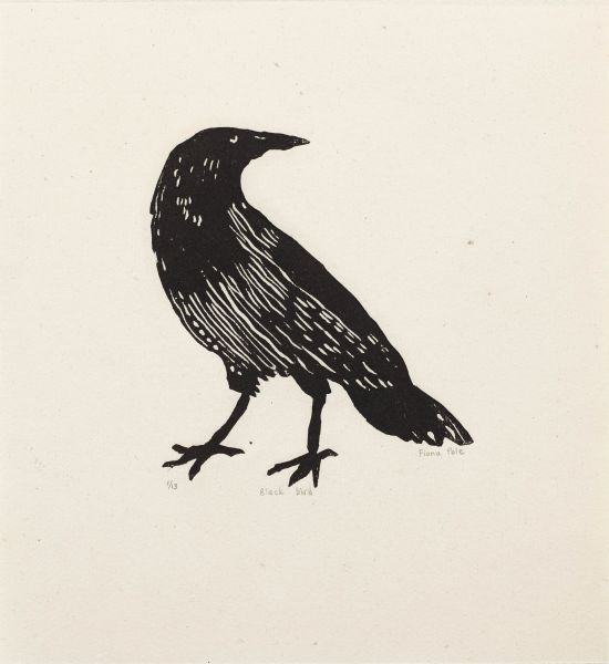 Click the image for a view of: Fiona Pole. Noir et blanc: Black bird. 2015. Linocut. Edition 13. 215X205mm