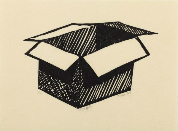 Click the image for a view of: Fiona Pole. Noir et blanc: The gift. 2015. Linocut. 215X170mm