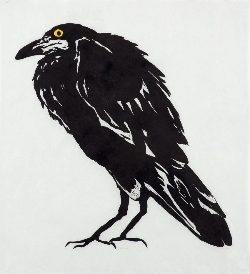 Click the image for a view of: Fiona Pole. Kyosai's Crow. 2015. Linocut, chine colle. Edition 5. 970X920mm
