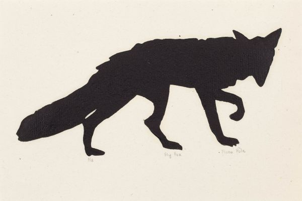 Click the image for a view of: Fiona Pole. Noir et blanc: Sly fox. 2015. Linocut. Edition 13. 210X155mm