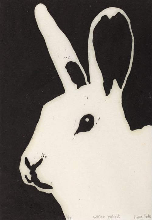 Click the image for a view of: Fiona Pole. Noir et blanc: White rabbit. 2015. Linocut. Edition 17. 190X145mm