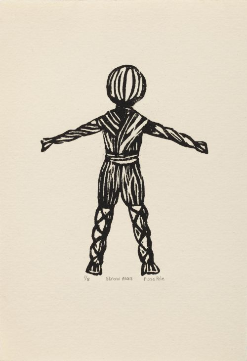 Click the image for a view of: Fiona Pole. Noir et blanc: Straw man. 2015. Linocut. Edition 8. 220X160mm