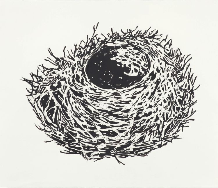 Click the image for a view of: Fiona Pole. Empty nest. 2015. Linocut. Edition 10. 845X730mm