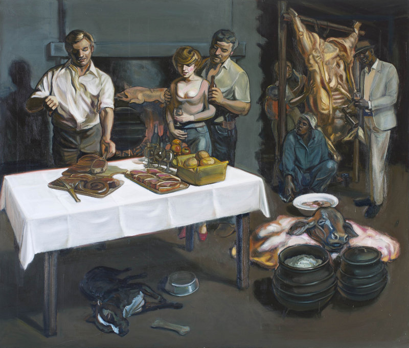 Click the image for a view of: Johannes Phokela. Exciting recipes. 2015. Oil on canvas. 1990X2200mm