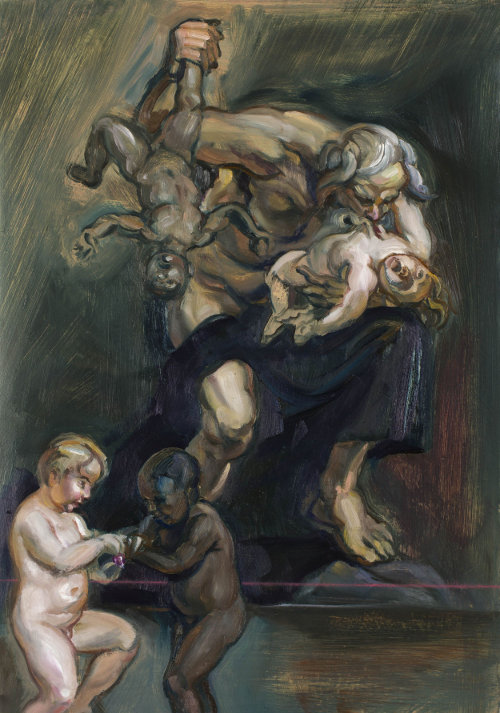 Click the image for a view of: Johannes Phokela. Saturn devours his children. 2015. Oil on paper. 765X590X40mm (framed)