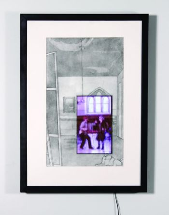 Click the image for a view of: Meninas. 2009. etching, aquatint, LCD with video. edition 3. 710 x 480 x 75mm