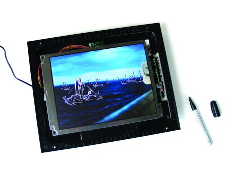 Click the image for a view of: At Sea. 2009. monovid:LCD with video, sharpie paint marker. 305 x 355mm