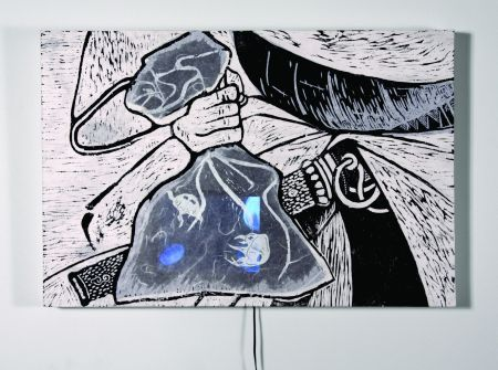 Click the image for a view of: Floating Worlds. 2009. woodcut, LCD with video. edition 3. 460 x 660 x 75mm