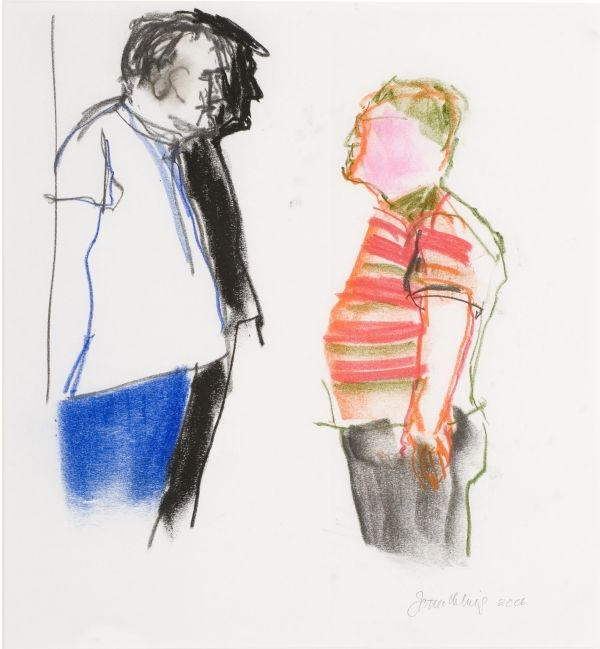 Click the image for a view of: Jan Neethling. Untitled (Rob triple portrait). 2006. Pastel, charcoal. 420X380mm