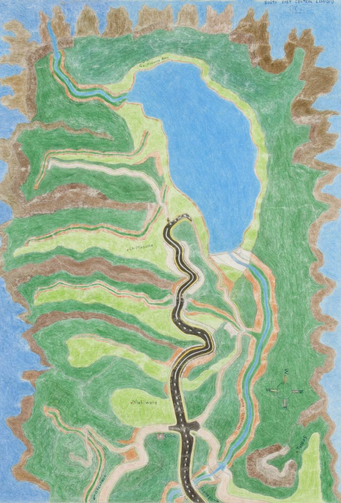 Click the image for a view of: John Phalane. South East Central Limpopo. Colour pencil, ballpoint pen on paper. 860X610mm