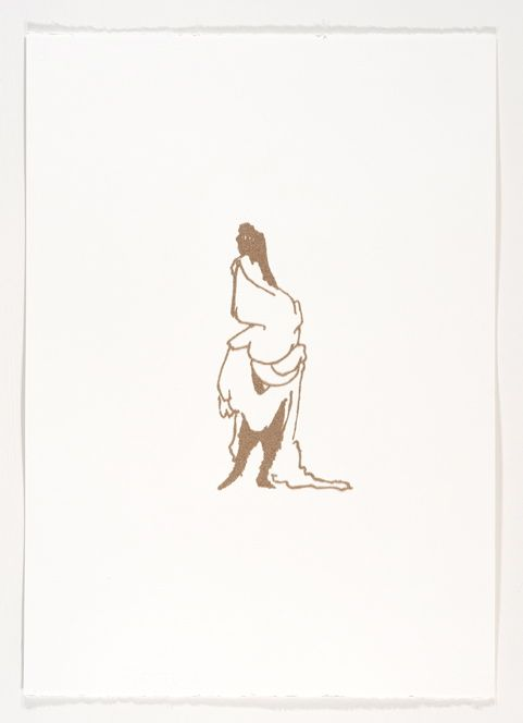 Click the image for a view of: Beast Well-Clothed III . 2011. Wool dust on paper. 550X440mm