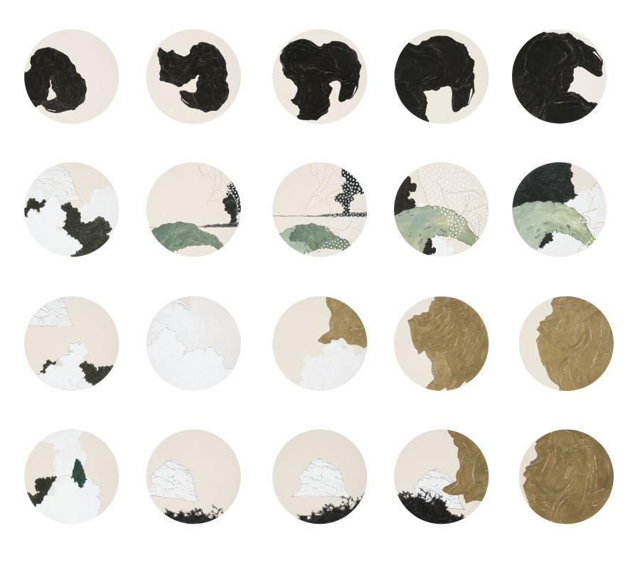 Click the image for a view of: Divine Acts And Errors Of Judgement. 2011. Acrylic on paper. Diameter each tondo 320mm