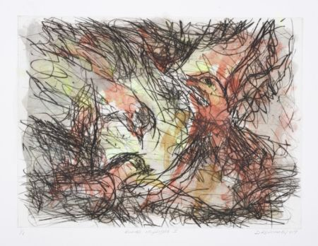 Click the image for a view of: David Koloane. Birds in Flight I. 2009. Hand coloured drypoint. 427X515mm
