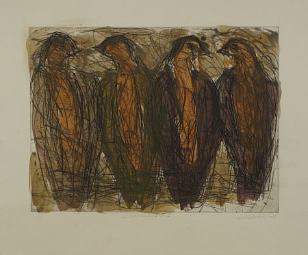 Click the image for a view of: David Koloane. Conversation I. 2009. Etching, drypoint. 430X518mm