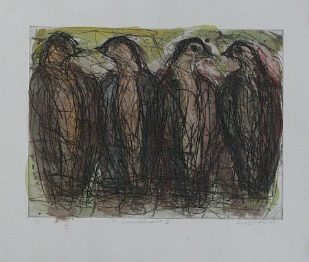 Click the image for a view of: David Koloane. Conversation II. 2009. Etching, drypoint. 430X518mm