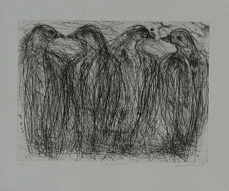 Click the image for a view of: David Koloane. Conversation. 2009. Etching, drypoint. 423X510mm