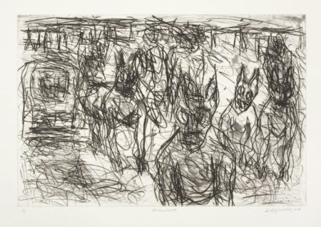 Click the image for a view of: David Koloane. Prowlers. 2009. Etching, drypoint. 620X485mm