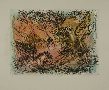 Click the image for a view of: David Koloane. Birds in Flight V. 2009. Hand coloured drypoint. 430X518mm